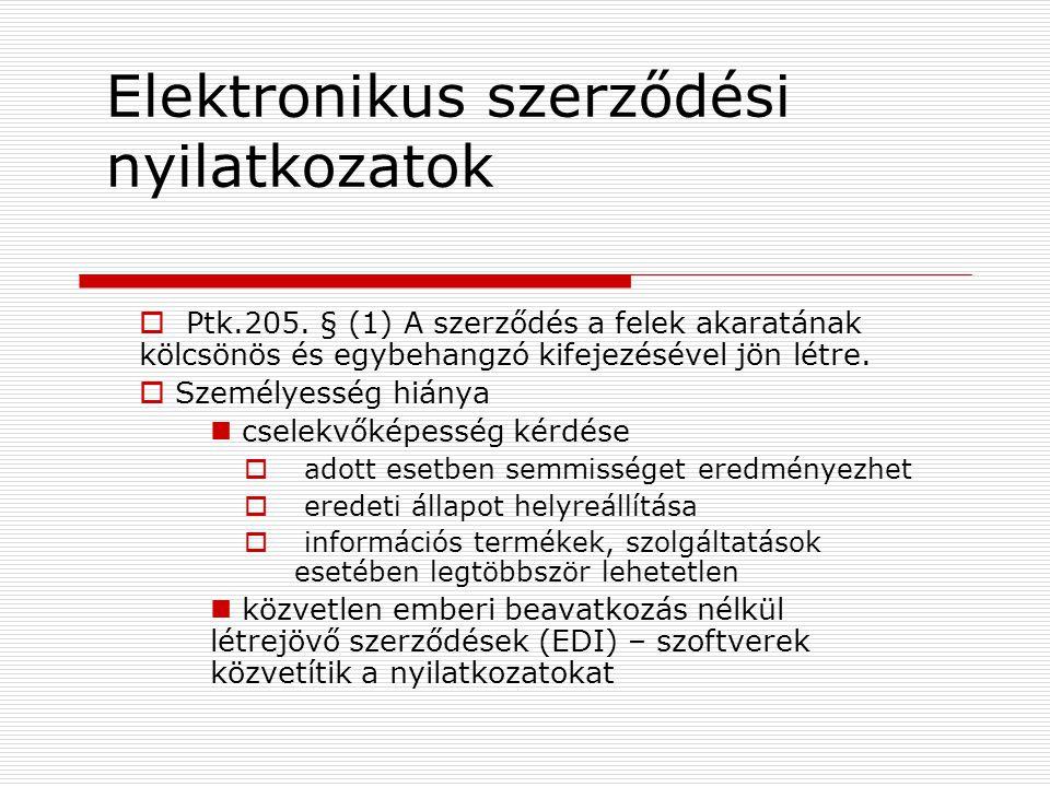 Elektronikus szerződési nyilatkozatok  Ptk.205.