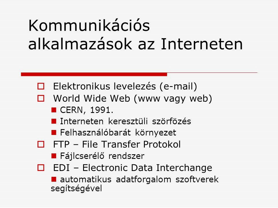 Kommunikációs alkalmazások az Interneten  Elektronikus levelezés (e-mail)  World Wide Web (www vagy web) CERN, 1991.