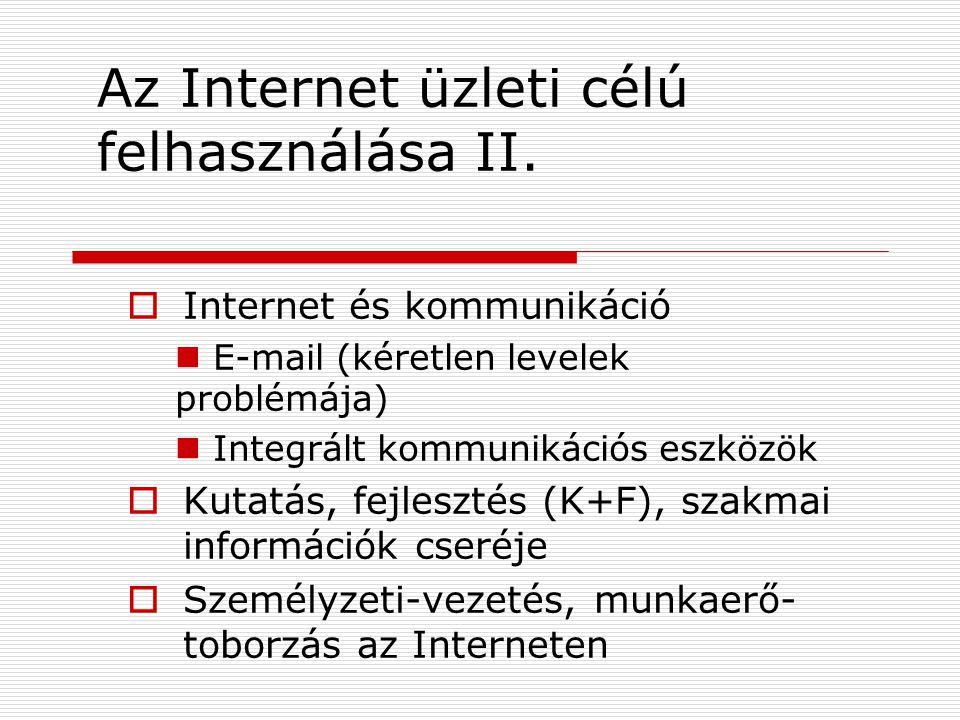Az Internet üzleti célú felhasználása II.