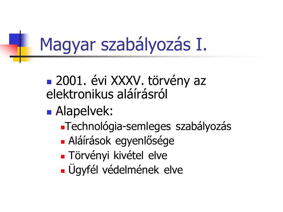 Magyar szabályozás I. 2001. évi XXXV. törvény az elektronikus aláírásról Alapelvek: Technológia-semleges szabályozás Aláírások egyenlősége Törvényi ki