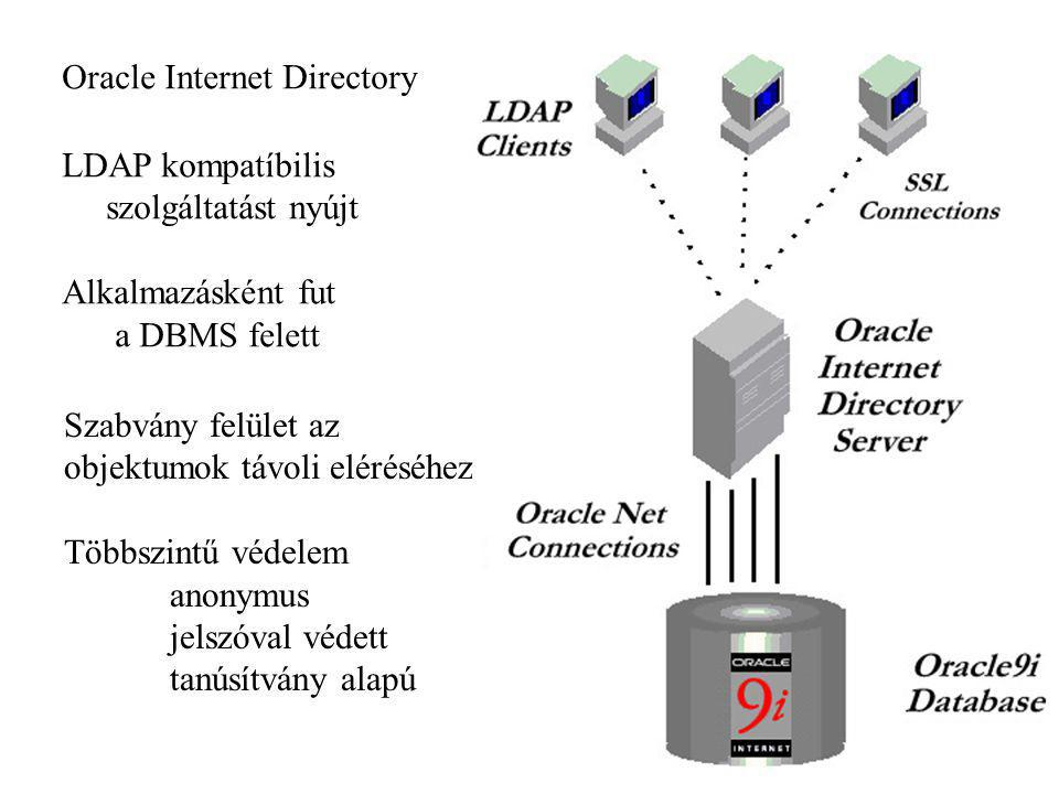 Oracle Internet Directory LDAP kompatíbilis szolgáltatást nyújt Alkalmazásként fut a DBMS felett Szabvány felület az objektumok távoli eléréséhez Több