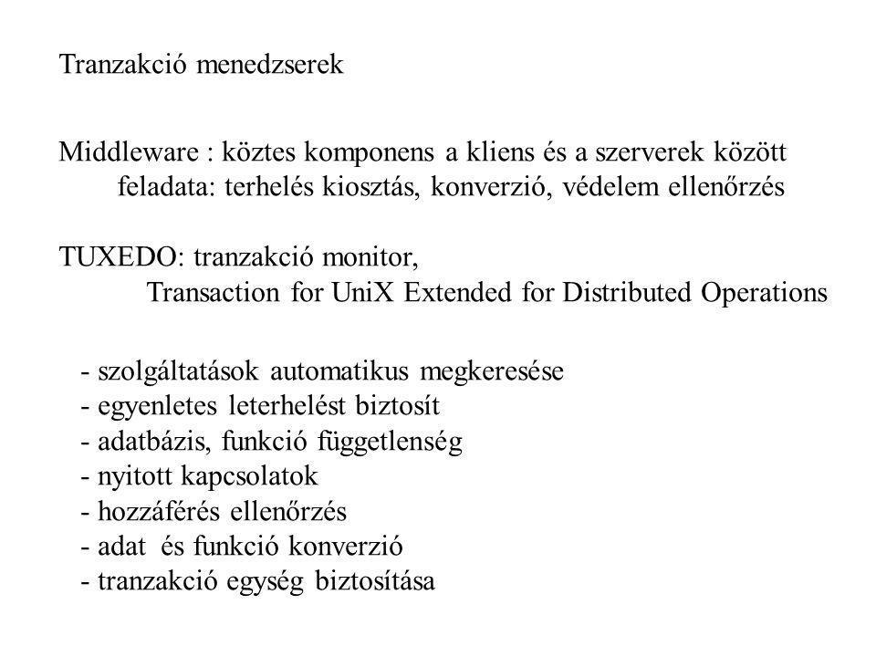 Tranzakció menedzserek Middleware : köztes komponens a kliens és a szerverek között feladata: terhelés kiosztás, konverzió, védelem ellenőrzés TUXEDO: