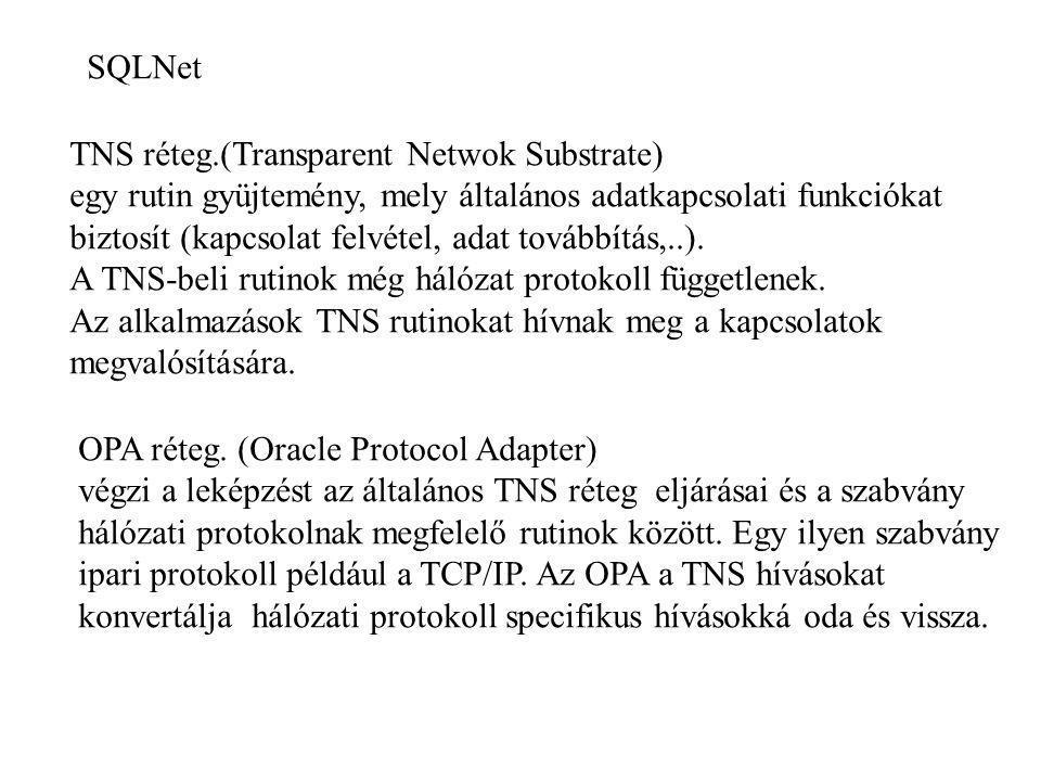 SQLNet TNS réteg.(Transparent Netwok Substrate) egy rutin gyüjtemény, mely általános adatkapcsolati funkciókat biztosít (kapcsolat felvétel, adat tová