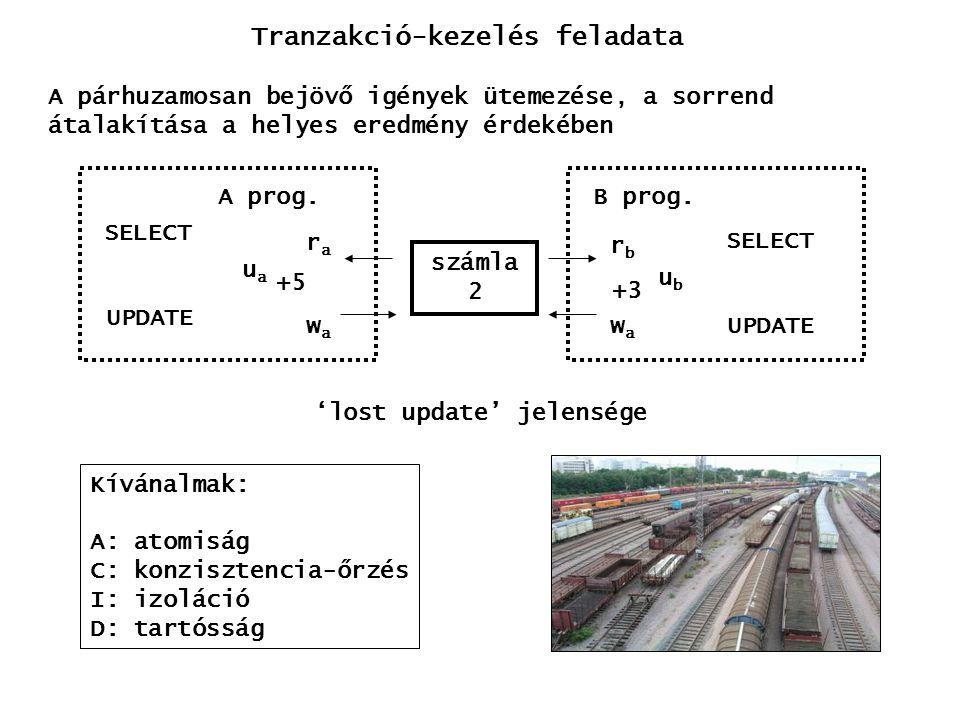 r1(x) w2(x) w1(x)a1 a2 History típusok ST history: a tranzakció akkor olvashat vagy írhat egy adatot, ha az azt utoljára módosító tranzakció lezáródott r1(x) w2(x) w1(x) r2(x) c1 c2 SR history: a tranzakciók a konfliktusban álló elemekre vonatkoztatva nem fedik át egymást r1(x) w2(x) w1(x) r2(x) c1 c2 S history: a tranzakciók nem fedik át egymást