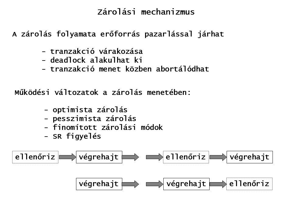 Zárolási mechanizmus A zárolás folyamata erőforrás pazarlással járhat - tranzakció várakozása - deadlock alakulhat ki - tranzakció menet közben abortálódhat Működési változatok a zárolás menetében: - optimista zárolás - pesszimista zárolás - finomított zárolási módok - SR figyelés ellenőrizvégrehajtellenőrizvégrehajt ellenőriz végrehajt