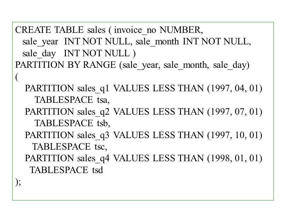 CREATE TABLE sales ( invoice_no NUMBER, sale_year INT NOT NULL, sale_month INT NOT NULL, sale_day INT NOT NULL ) PARTITION BY RANGE (sale_year, sale_month, sale_day) ( PARTITION sales_q1 VALUES LESS THAN (1997, 04, 01) TABLESPACE tsa, PARTITION sales_q2 VALUES LESS THAN (1997, 07, 01) TABLESPACE tsb, PARTITION sales_q3 VALUES LESS THAN (1997, 10, 01) TABLESPACE tsc, PARTITION sales_q4 VALUES LESS THAN (1998, 01, 01) TABLESPACE tsd );
