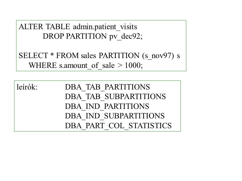 ALTER TABLE admin.patient_visits DROP PARTITION pv_dec92; SELECT * FROM sales PARTITION (s_nov97) s WHERE s.amount_of_sale > 1000; leírók:DBA_TAB_PARTITIONS DBA_TAB_SUBPARTITIONS DBA_IND_PARTITIONS DBA_IND_SUBPARTITIONS DBA_PART_COL_STATISTICS