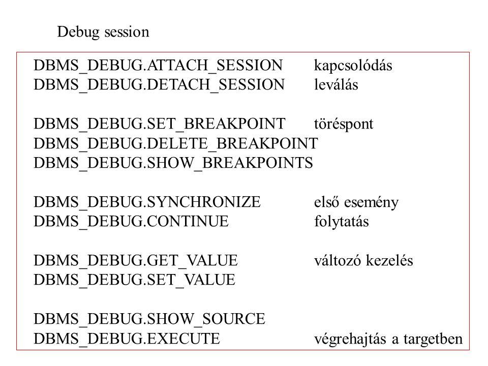 Debug session DBMS_DEBUG.ATTACH_SESSION kapcsolódás DBMS_DEBUG.DETACH_SESSION leválás DBMS_DEBUG.SET_BREAKPOINTtöréspont DBMS_DEBUG.DELETE_BREAKPOINT