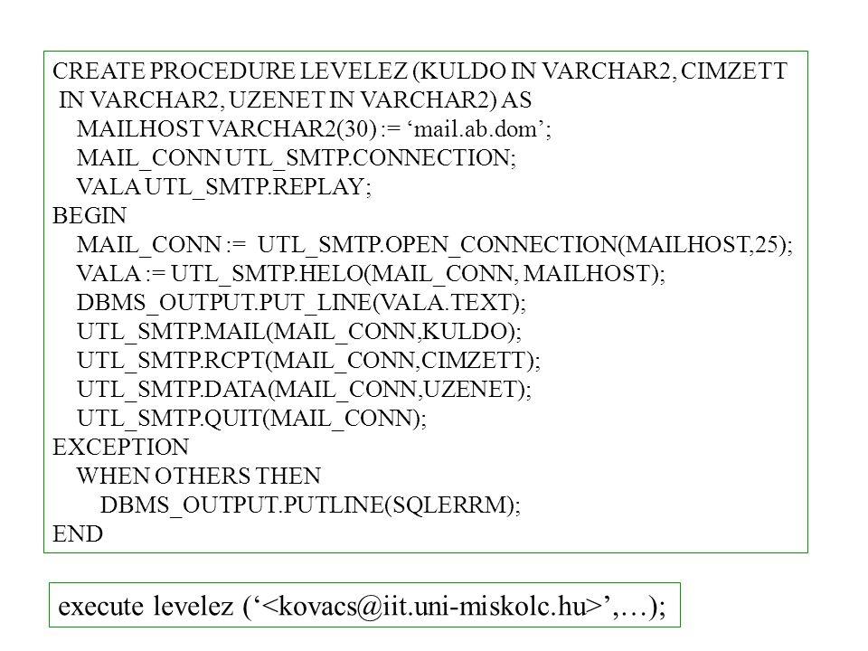 Hibakezelő csomag DBMS_DEBUG DBMS_DEBUG.INITIALIZE regisztrálás DBMS_DEBUG.DEBUG_ONelindítás DBMS_DEBUG.DEBUG_OFFleállítás debug session target session ALTER SESSION SET PLSQL_DEBUG = true; ALTER [PROCEDURE   FUNCTION   PACKAGE   TRIGGER   TYPE] COMPILE DEBUG; debug információk beépítése: Target session