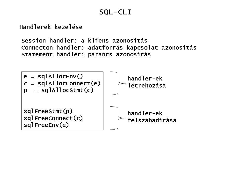 SQL-CLI Handlerek kezelése e = sqlAllocEnv() c = sqlAllocConnect(e) p = sqlAllocStmt(c) sqlFreeStmt(p) sqlFreeConnect(c) sqlFreeEnv(e) Session handler