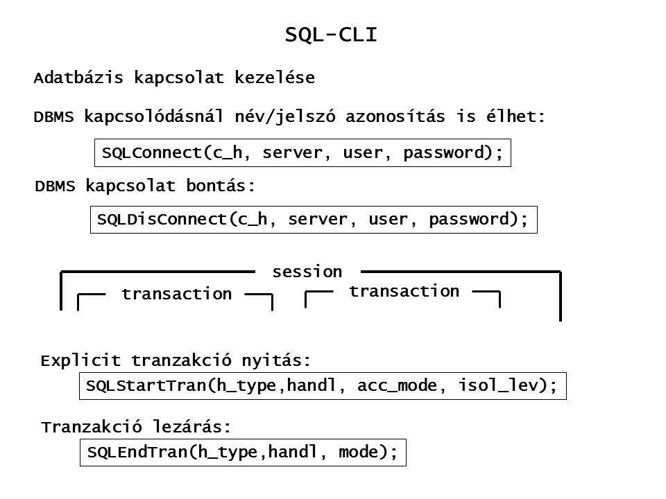 SQL-CLI Adatbázis kapcsolat kezelése SQLConnect(c_h, server, user, password); DBMS kapcsolódásnál név/jelszó azonosítás is élhet: DBMS kapcsolat bontá