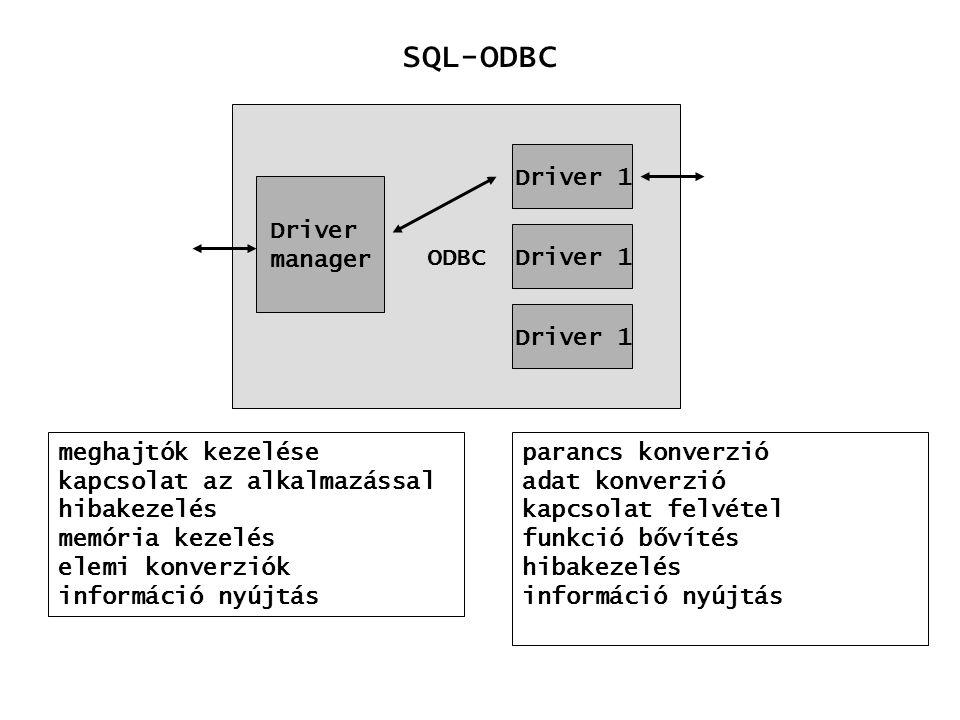 parancs konverzió adat konverzió kapcsolat felvétel funkció bővítés hibakezelés információ nyújtás SQL-ODBC ODBC Driver manager Driver 1 meghajtók kez