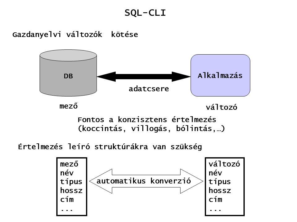 SQL-CLI Gazdanyelvi változók kötése DB Alkalmazás adatcsere mező változó Fontos a konzisztens értelmezés (koccintás, villogás, bólintás,…) Értelmezés