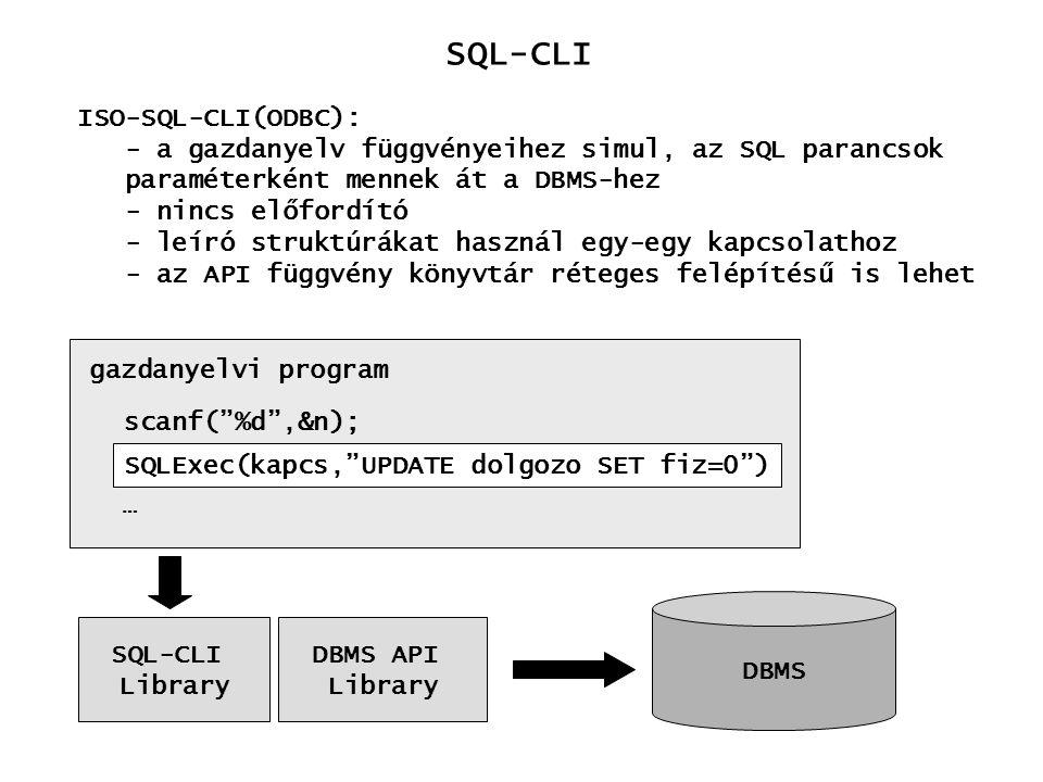 SQL-CLI Eredmény adatok feldolgozása A kurzor mechanizmusra épül DBMS Alkalmazás kurzor Ugrás a következő rekordra: SQLFetch (c_h) Mező értékek átvétele: SQLGetData (s_h, mező_sz, típus,...)