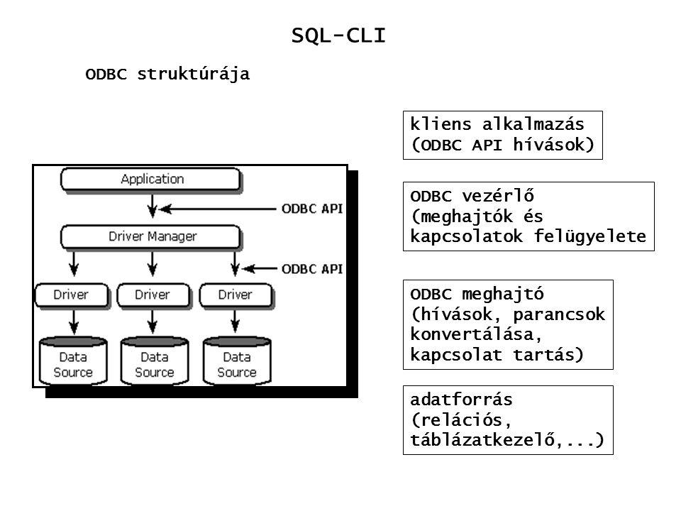 SQL-CLI ODBC struktúrája kliens alkalmazás (ODBC API hívások) ODBC vezérlő (meghajtók és kapcsolatok felügyelete ODBC meghajtó (hívások, parancsok kon