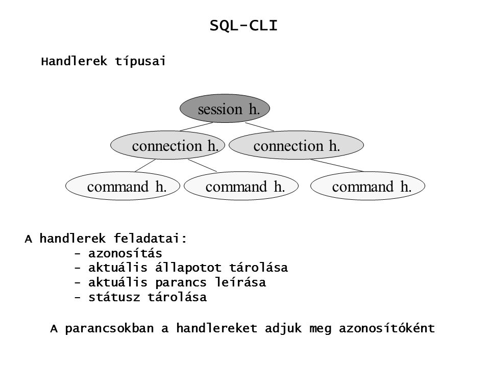 SQL-CLI Handlerek kezelése e = sqlAllocEnv() c = sqlAllocConnect(e) p = sqlAllocStmt(c) sqlFreeStmt(p) sqlFreeConnect(c) sqlFreeEnv(e) Session handler: a kliens azonosítás Connecton handler: adatforrás kapcsolat azonosítás Statement handler: parancs azonosítás handler-ek létrehozása handler-ek felszabadítása
