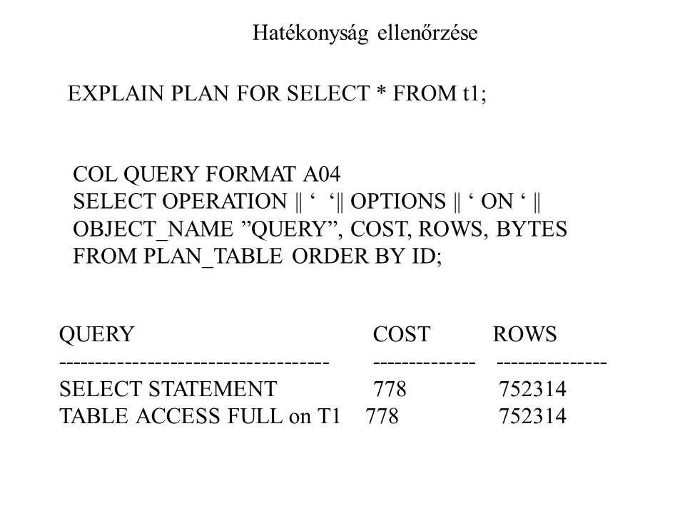 "Hatékonyság ellenőrzése EXPLAIN PLAN FOR SELECT * FROM t1; COL QUERY FORMAT A04 SELECT OPERATION || ' '|| OPTIONS || ' ON ' || OBJECT_NAME ""QUERY"", CO"