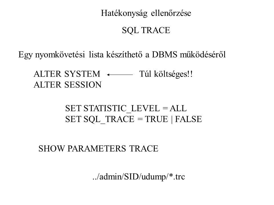Hatékonyság ellenőrzése SQL TRACE Egy nyomkövetési lista készíthető a DBMS működéséről ALTER SYSTEM ALTER SESSION Túl költséges!! SET STATISTIC_LEVEL