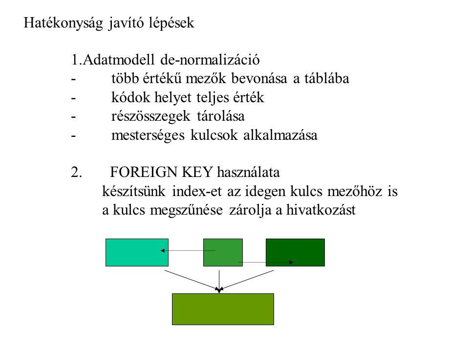 Hatékonyság javító lépések 1.Adatmodell de-normalizáció - több értékű mezők bevonása a táblába - kódok helyet teljes érték - részösszegek tárolása - m