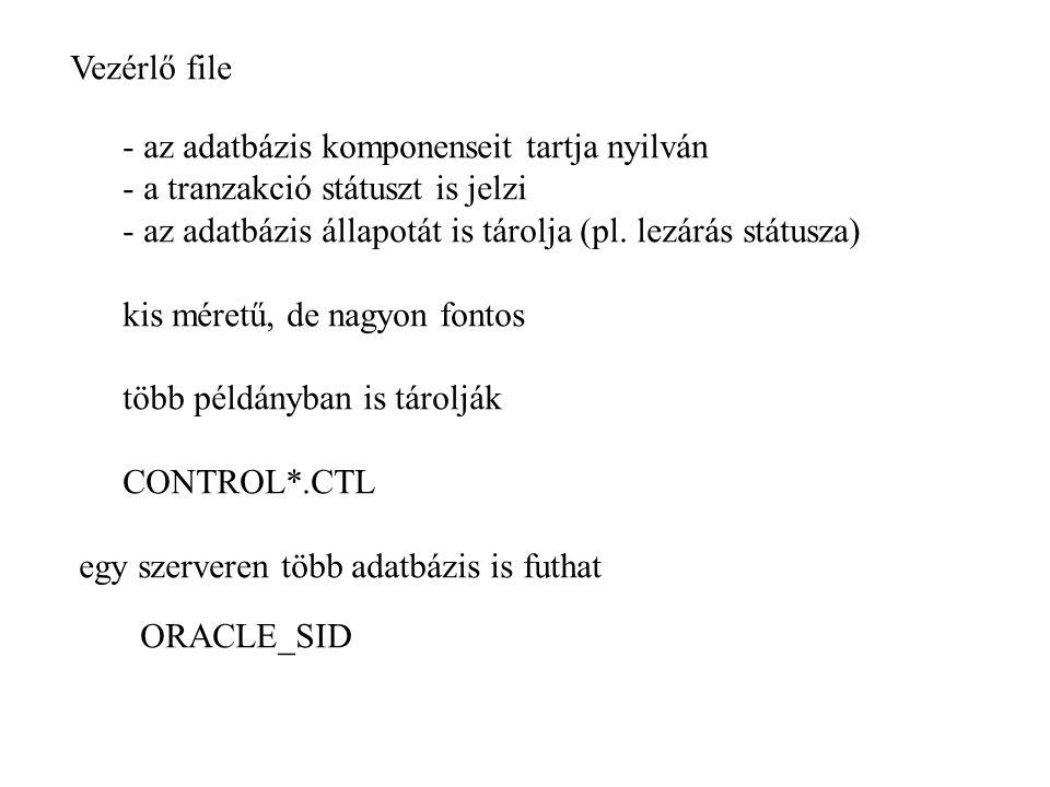 Vezérlő file - az adatbázis komponenseit tartja nyilván - a tranzakció státuszt is jelzi - az adatbázis állapotát is tárolja (pl.