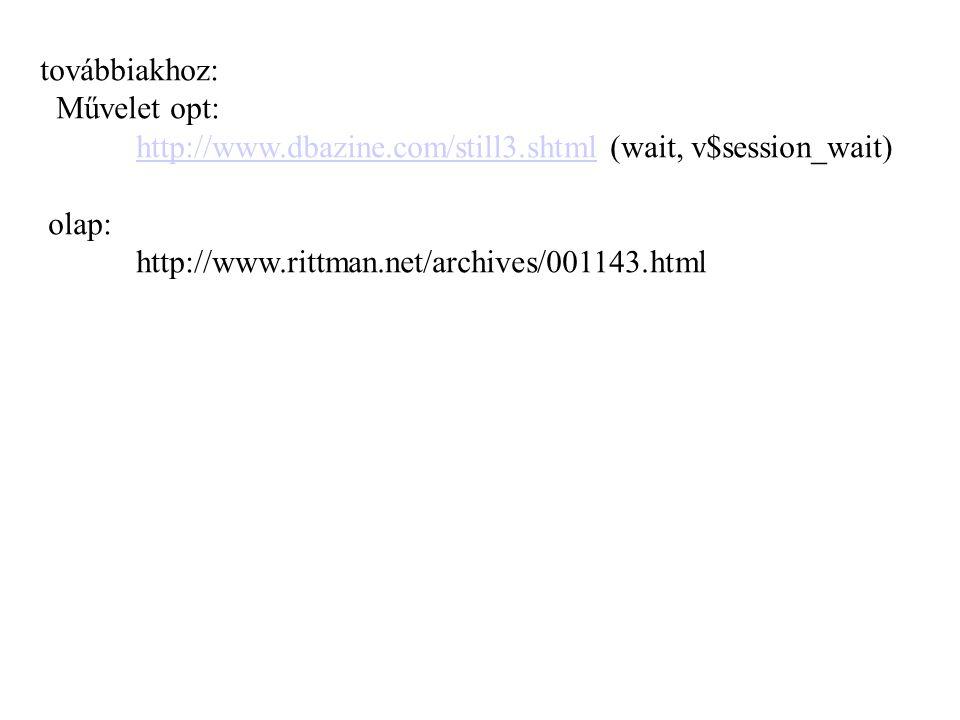továbbiakhoz: Művelet opt: http://www.dbazine.com/still3.shtmlhttp://www.dbazine.com/still3.shtml (wait, v$session_wait) olap: http://www.rittman.net/archives/001143.html