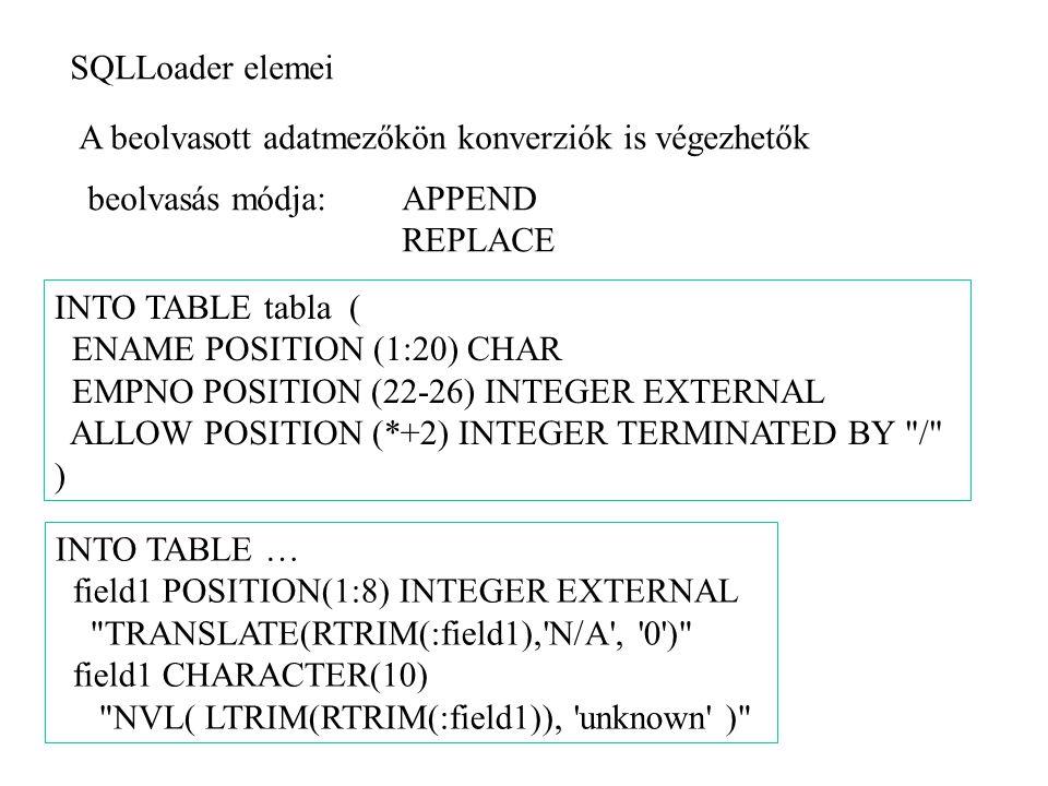 SQLLoader elemei A beolvasott adatmezőkön konverziók is végezhetők beolvasás módja:APPEND REPLACE INTO TABLE tabla ( ENAME POSITION (1:20) CHAR EMPNO POSITION (22-26) INTEGER EXTERNAL ALLOW POSITION (*+2) INTEGER TERMINATED BY / ) INTO TABLE … field1 POSITION(1:8) INTEGER EXTERNAL TRANSLATE(RTRIM(:field1), N/A , 0 ) field1 CHARACTER(10) NVL( LTRIM(RTRIM(:field1)), unknown )