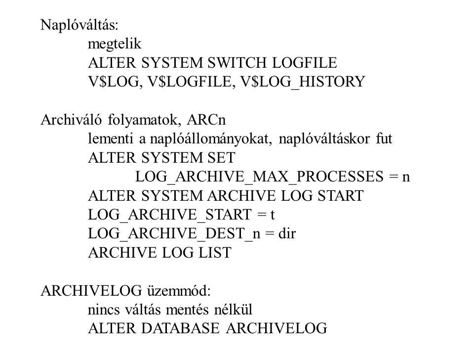 Naplóváltás: megtelik ALTER SYSTEM SWITCH LOGFILE V$LOG, V$LOGFILE, V$LOG_HISTORY Archiváló folyamatok, ARCn lementi a naplóállományokat, naplóváltáskor fut ALTER SYSTEM SET LOG_ARCHIVE_MAX_PROCESSES = n ALTER SYSTEM ARCHIVE LOG START LOG_ARCHIVE_START = t LOG_ARCHIVE_DEST_n = dir ARCHIVE LOG LIST ARCHIVELOG üzemmód: nincs váltás mentés nélkül ALTER DATABASE ARCHIVELOG