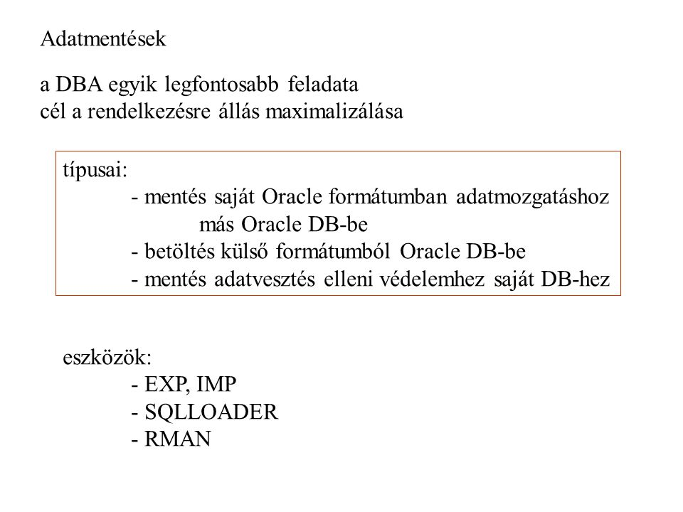Adatmentés Backup: A DB állapot lementése Recovery: a DB korábbi lementésének viszatöltése DBS hibák: felhasználói (rossz parancs) parancs feldolgozási hiba user processz hiba instance hiba disk hiba hálózati hiba Adatforrások: REDO LOG állomány Archivált állományok Control file Rolback szegmensek