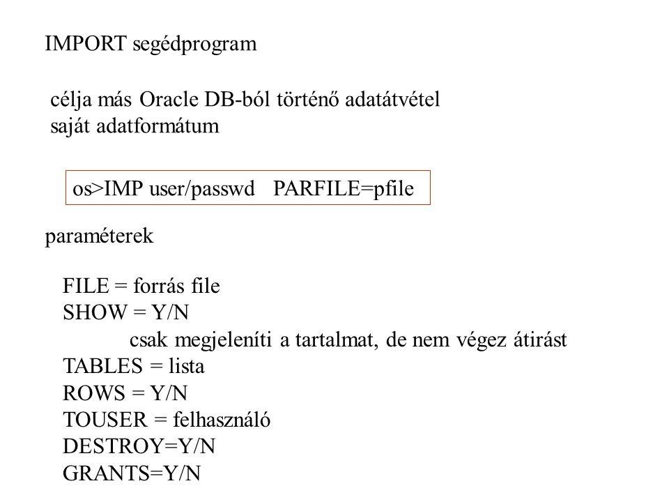 EXP segédprogram mások adatainak beolvasásához szükséges jog: IMP_FULL_DATABASE betöltési módok: - user(FROMUSER) - table(TABLES) - tablespace (TRANSPORT_TABLESPACES) - full (FULL) segédobjektumok előkészítése: CATEXP.SQL a LOG paraméterben megadható a napló file a CONSISTENT módban READ ONLY tranzakciót használ