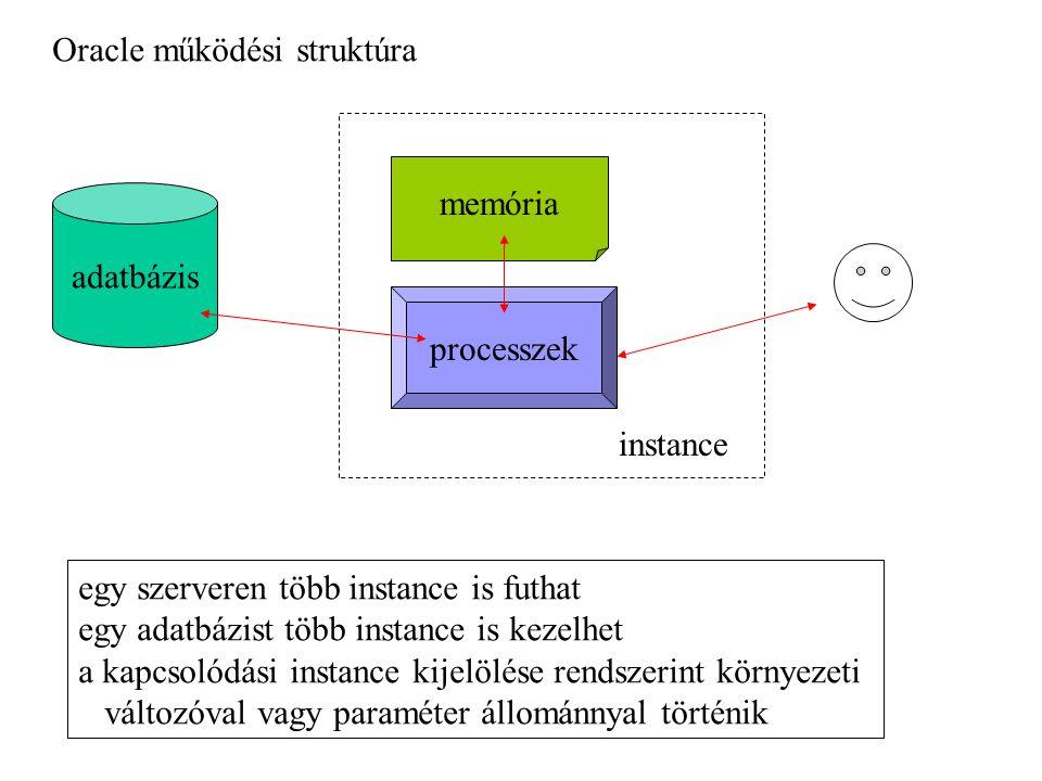 Oracle működési struktúra adatbázis memória processzek instance egy szerveren több instance is futhat egy adatbázist több instance is kezelhet a kapcsolódási instance kijelölése rendszerint környezeti változóval vagy paraméter állománnyal történik