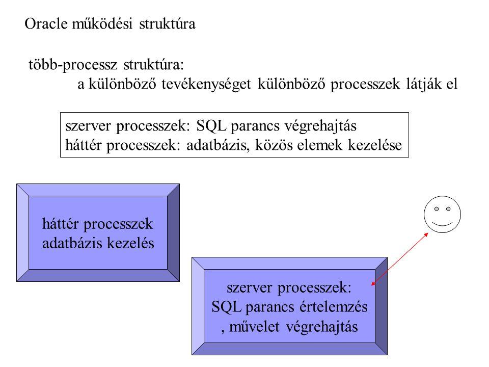 Oracle működési struktúra több-processz struktúra: a különböző tevékenységet különböző processzek látják el szerver processzek: SQL parancs értelemzés, művelet végrehajtás szerver processzek: SQL parancs végrehajtás háttér processzek: adatbázis, közös elemek kezelése háttér processzek adatbázis kezelés