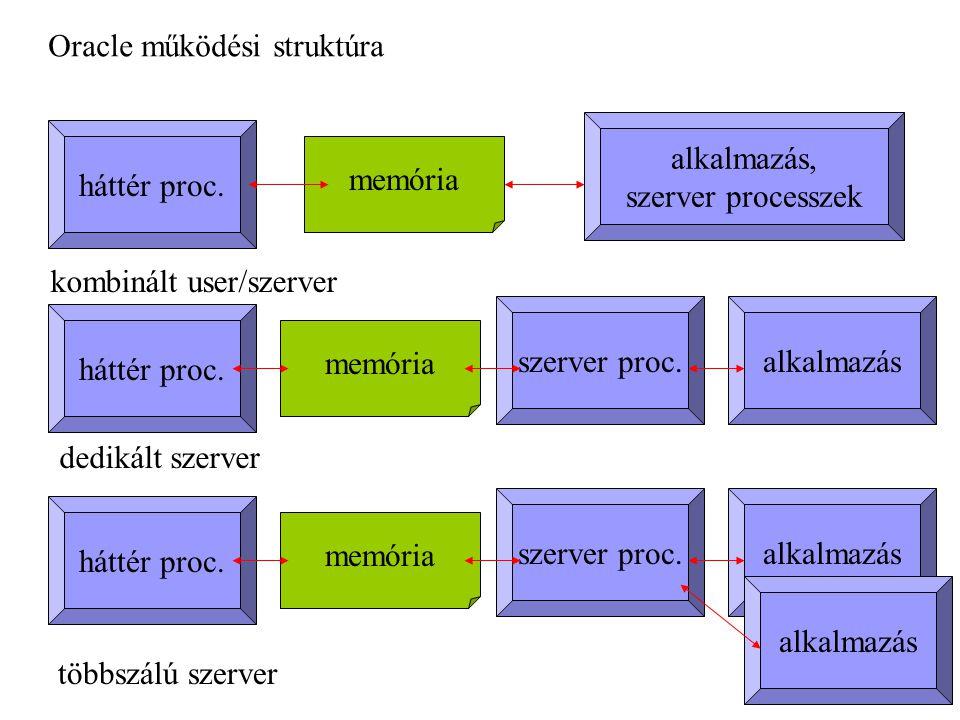 kombinált user/szerver dedikált szerver többszálú szerver alkalmazás, szerver processzek memória háttér proc.
