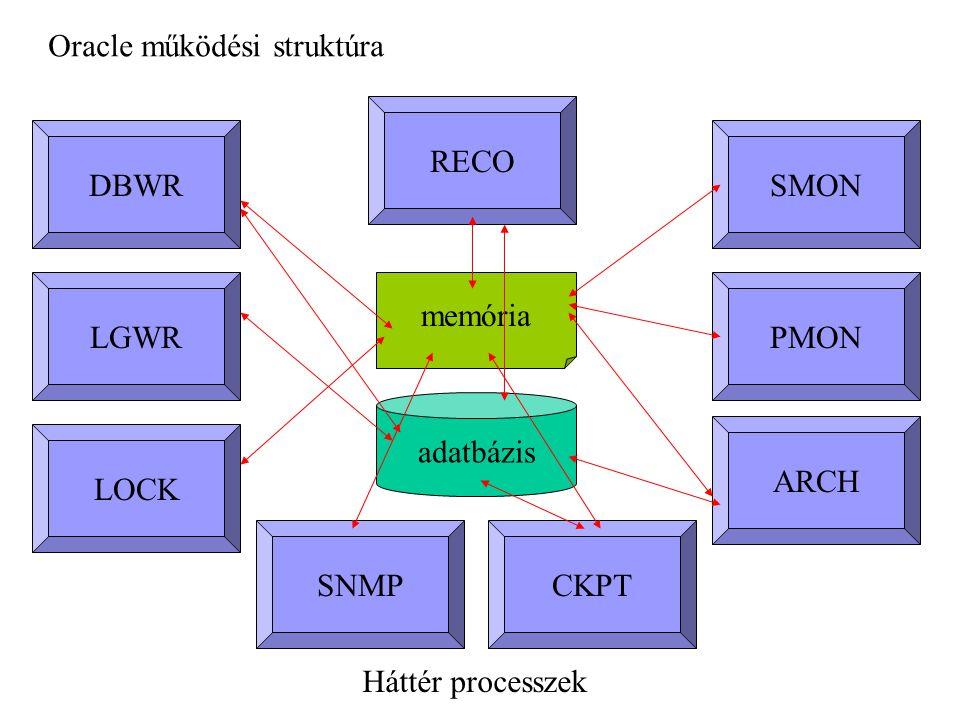 Háttér processzek memória DBWR LGWR SMON PMON ARCH CKPT RECO LOCK SNMP adatbázis