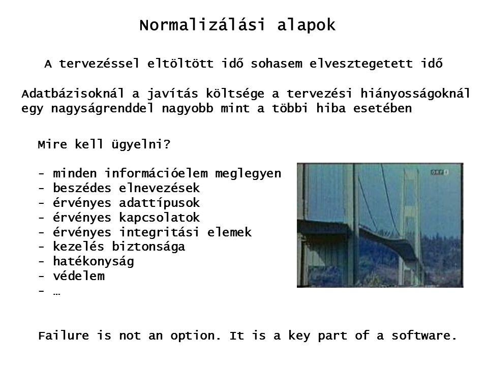 Normalizálási alapok Az adatbázis tervezésnél, az egyik jól formalizálható elem a redundancia kezelése redundancia: információ ismétlődése hátrányai: - beszúrási anomália - módosítási anomália - törlési anomália - helyfoglalás dkoduticéldcímbefizetesdnév 1 3 1 Eger ÓzdPeter Antal PeterMiskolc Baja Miskolc2 5 3 előnyei: - elérési gyorsaság - hibatűrés cél: szabályozott, minimális redundancia