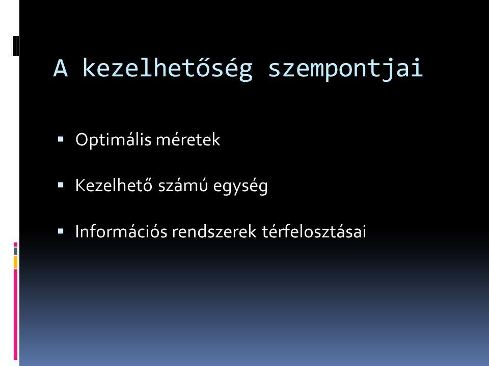 A kezelhetőség szempontjai  Optimális méretek  Kezelhető számú egység  Információs rendszerek térfelosztásai