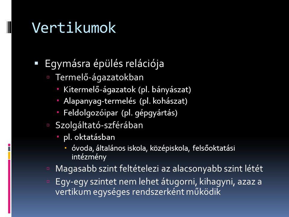 Vertikumok  Egymásra épülés relációja  Termelő-ágazatokban  Kitermelő-ágazatok (pl. bányászat)  Alapanyag-termelés (pl. kohászat)  Feldolgozóipar
