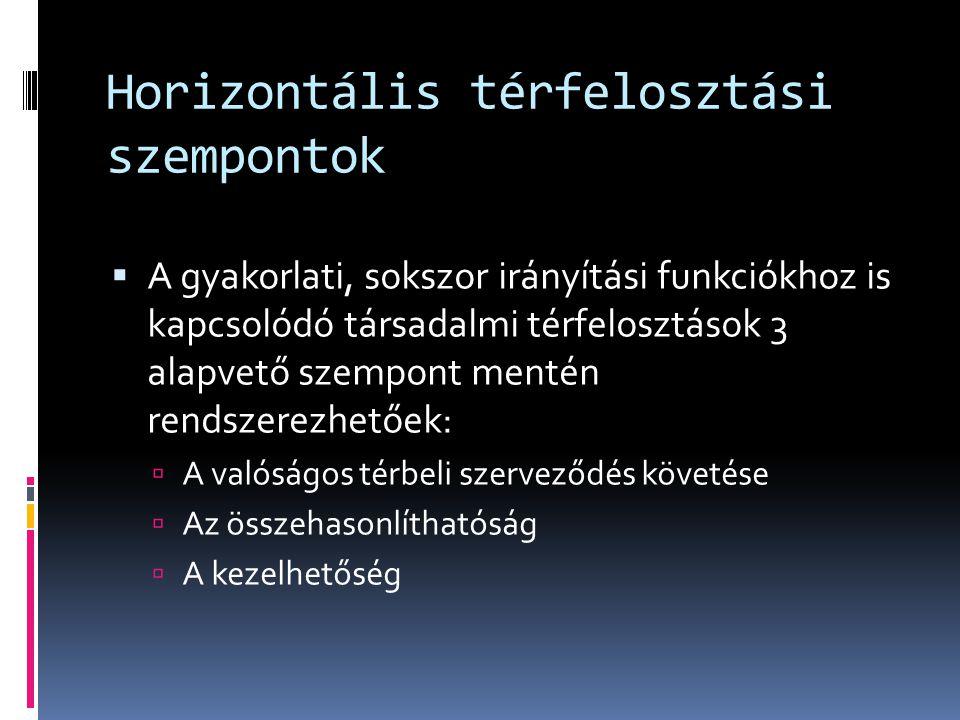 Horizontális térfelosztási szempontok  A gyakorlati, sokszor irányítási funkciókhoz is kapcsolódó társadalmi térfelosztások 3 alapvető szempont menté