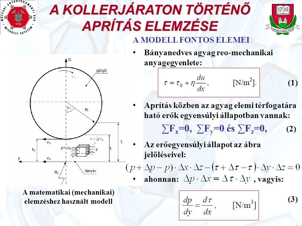A KOLLERJÁRATON TÖRTÉNŐ APRÍTÁS ELEMZÉSE A matematikai (mechanikai) elemzéshez használt modell A MODELL FONTOS ELEMEI Bányanedves agyag reo-mechanikai