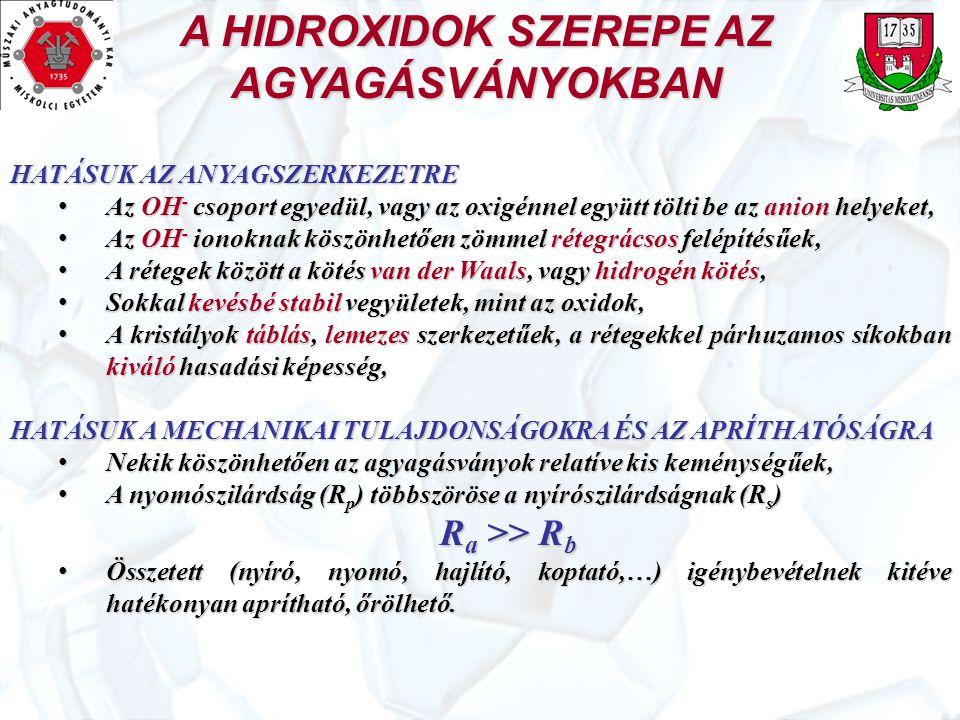 A HIDROXIDOK SZEREPE AZ AGYAGÁSVÁNYOKBAN HATÁSUK AZ ANYAGSZERKEZETRE Az OH - csoport egyedül, vagy az oxigénnel együtt tölti be az anion helyeket, Az