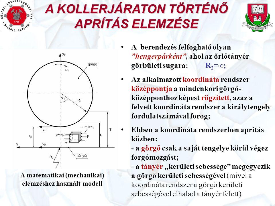 A KOLLERJÁRATON TÖRTÉNŐ APRÍTÁS ELEMZÉSE A matematikai (mechanikai) elemzéshez használt modell A MODELL FONTOS ELEMEI Bányanedves agyag reo-mechanikai anyagegyenlete: (1) Aprítás közben az agyag elemi térfogatára ható erők egyensúlyi állapotban vannak: ∑F x =0, ∑F y =0 és ∑F z =0, (2) Az erőegyensúlyi állapot az ábra jelöléseivel: ahonnan:, vagyis: (3)