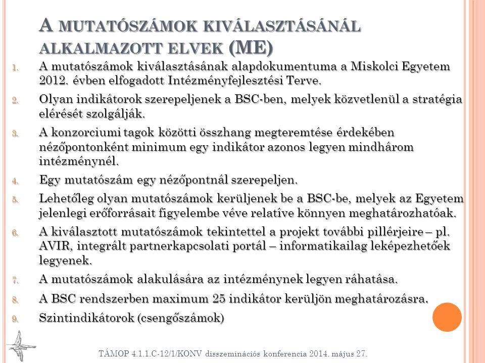 A MUTATÓSZÁMOK KIVÁLASZTÁSÁNÁL ALKALMAZOTT ELVEK (ME) 1. A mutatószámok kiválasztásának alapdokumentuma a Miskolci Egyetem 2012. évben elfogadott Inté