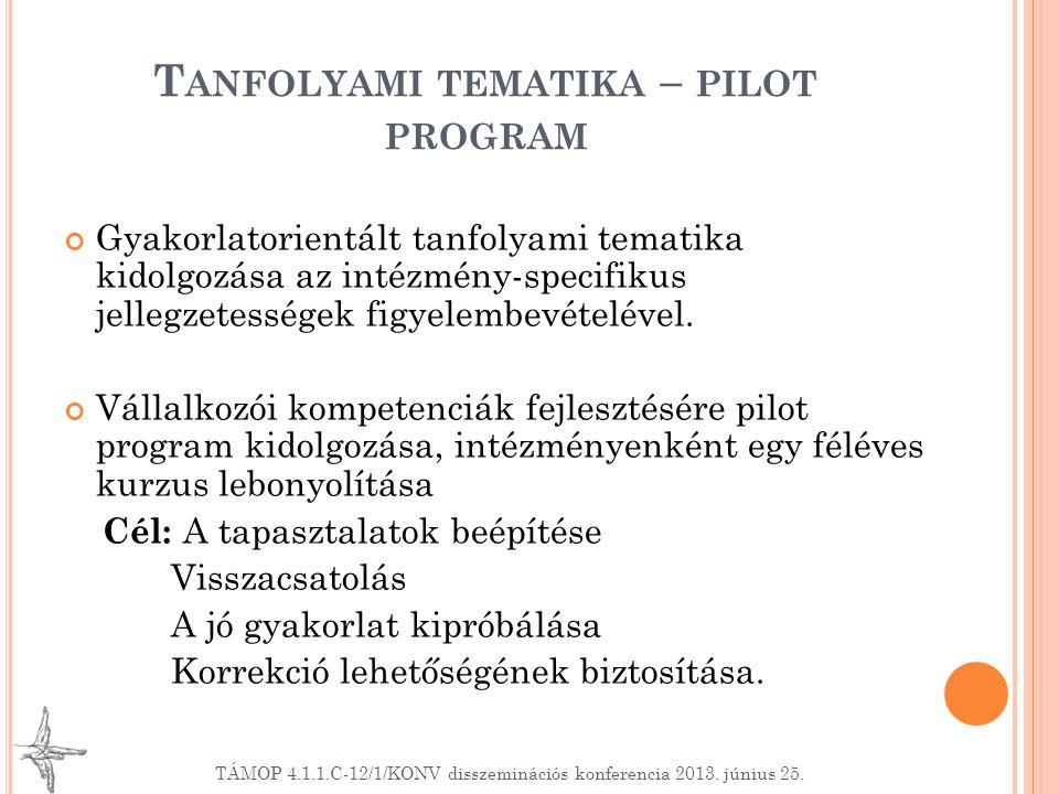 T ANFOLYAMI TEMATIKA – PILOT PROGRAM Gyakorlatorientált tanfolyami tematika kidolgozása az intézmény-specifikus jellegzetességek figyelembevételével.