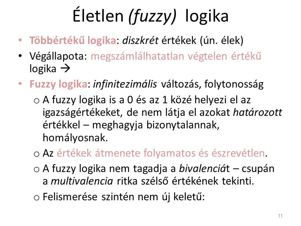 Életlen (fuzzy) logika Többértékű logika: diszkrét értékek (ún. élek) Végállapota: megszámlálhatatlan végtelen értékű logika  Fuzzy logika: infinitez