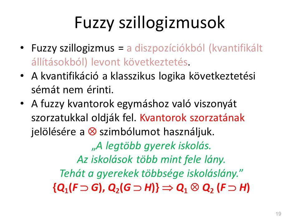 Fuzzy szillogizmusok Fuzzy szillogizmus = a diszpozíciókból (kvantifikált állításokból) levont következtetés. A kvantifikáció a klasszikus logika köve