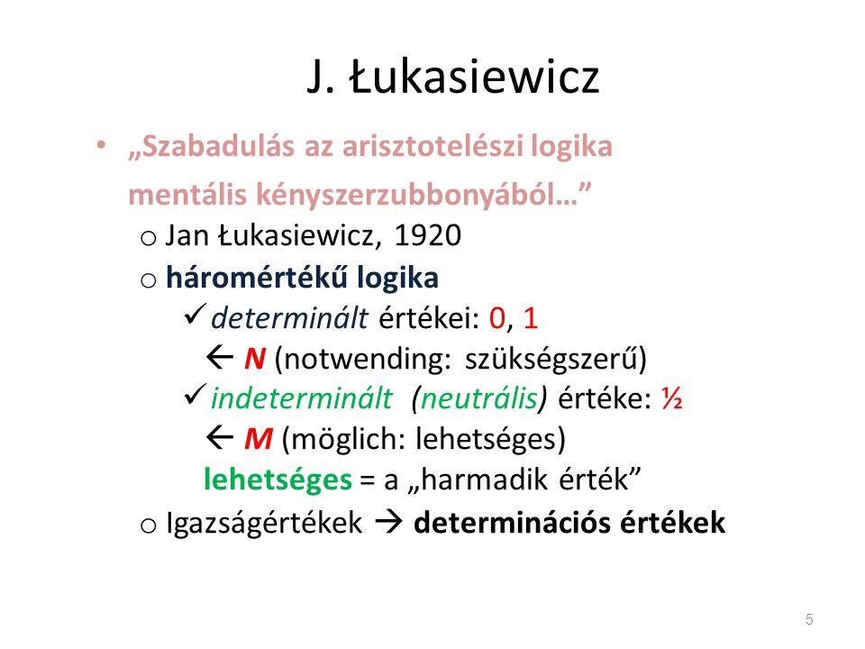 """J. Łukasiewicz """"Szabadulás az arisztotelészi logika mentális kényszerzubbonyából…"""" o Jan Łukasiewicz, 1920 o háromértékű logika determinált értékei: 0"""