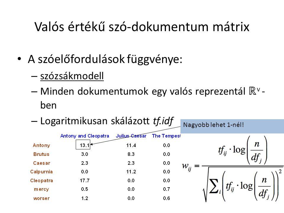 Valós értékű szó-dokumentum mátrix A szóelőfordulások függvénye: – szózsákmodell – Minden dokumentumok egy valós reprezentál ℝ v - ben – Logaritmikusa