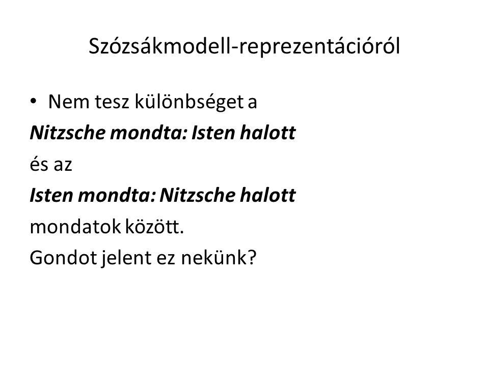 Szózsákmodell-reprezentációról Nem tesz különbséget a Nitzsche mondta: Isten halott és az Isten mondta: Nitzsche halott mondatok között. Gondot jelent