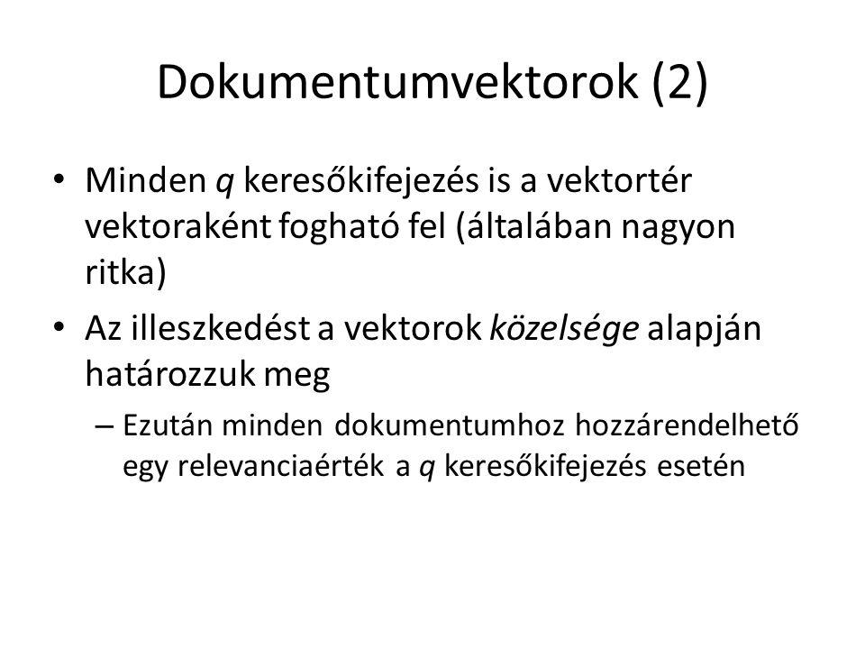 Dokumentumvektorok (2) Minden q keresőkifejezés is a vektortér vektoraként fogható fel (általában nagyon ritka) Az illeszkedést a vektorok közelsége a