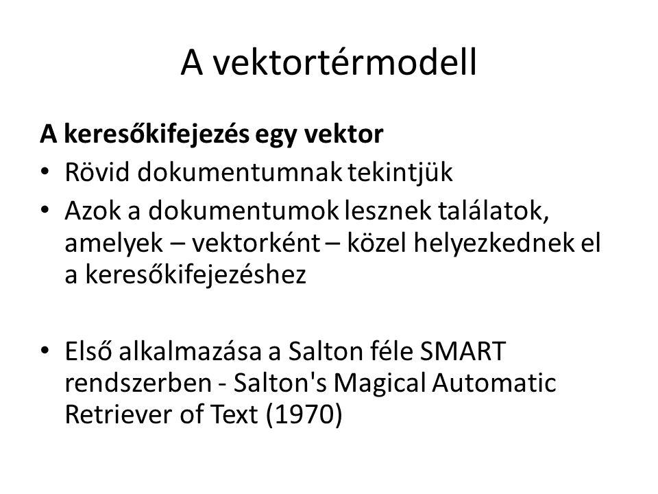 A vektortérmodell A keresőkifejezés egy vektor Rövid dokumentumnak tekintjük Azok a dokumentumok lesznek találatok, amelyek – vektorként – közel helye