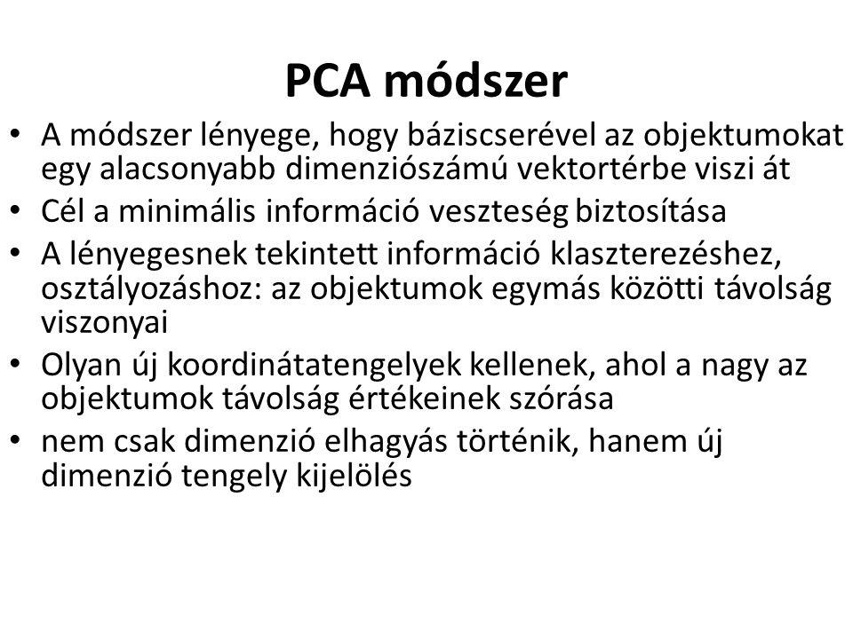 PCA módszer A módszer lényege, hogy báziscserével az objektumokat egy alacsonyabb dimenziószámú vektortérbe viszi át Cél a minimális információ veszte